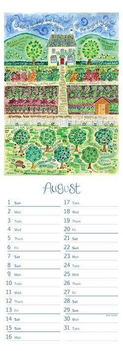 Hannah Dunnett 2021 slimline calendar August