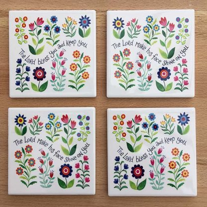 Hannah Dunnett Bless You and Keep You and Shine on You coasters pack of 4 image