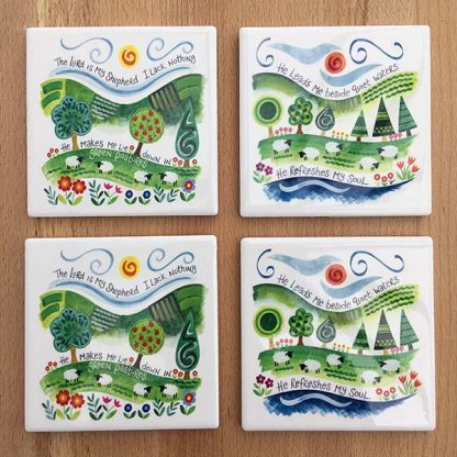 Hannah Dunnett The Lord is My Shepherd and He Refreshes My Soul coasters pack of 4 image