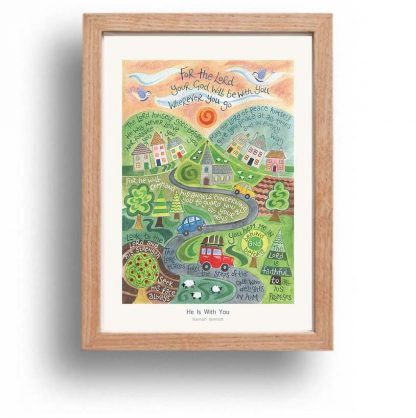 Hannah Dunnett He is With You A4 poster oak framed