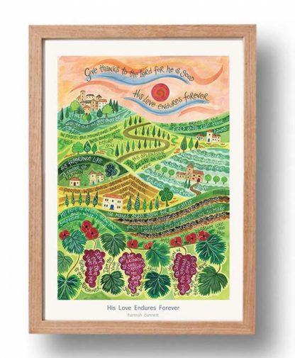 Hannah Dunnett His Love Endures Forever Poster oak frame