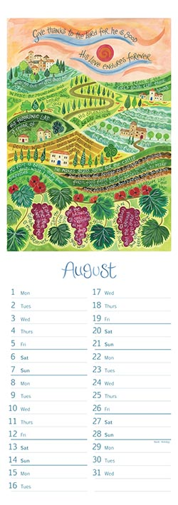 Hannah Dunnett slimline calendar August 2022