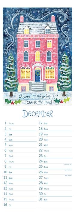 Hannah Dunnett slimline calendar December 2022
