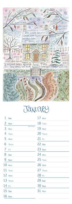 Hannah Dunnett slimline calendar January 2022