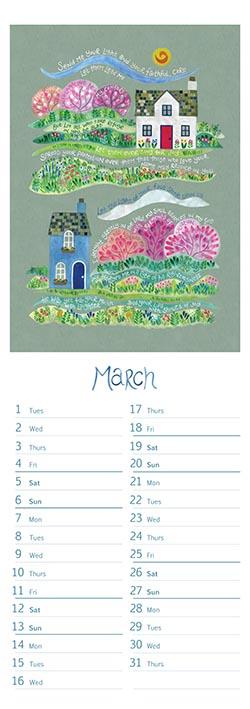 Hannah Dunnett slimline calendar March 2022