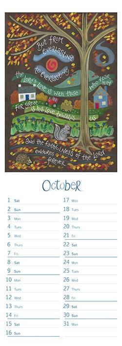 Hannah Dunnett slimline calendar October 2022
