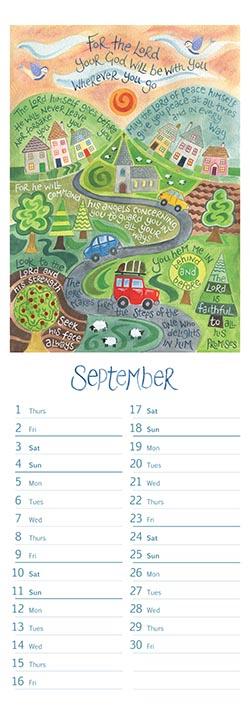 Hannah Dunnett slimline calendar September 2022